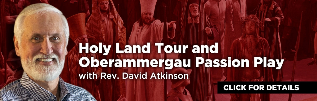 reverend david atkinson's holy land trip banner